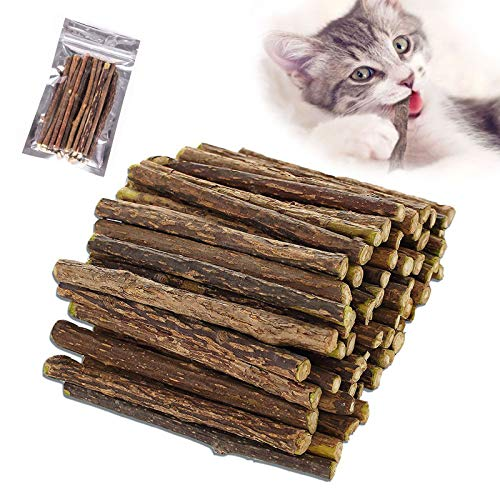 Cat Catnip Sticks 100% orgánico Natural Matatabi Dental Treats Dientes Grinding Chew Toys Enriquecimiento Olfactory para Gato, Paquete de 30 Unidades
