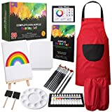 RISEBRITE Kids Art Set 35 Pcs Acrylic Paint Set for Kids Includes Non Toxic Paint, Tabletop Easel, Paint Brushes, Canvas, Painting Pad, and More Art Supplies (Office Product)