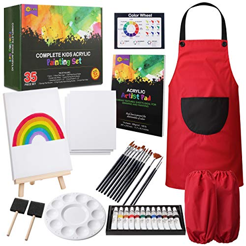 RISEBRITE Kids Art Set 35 Pcs Acrylic Paint Set for Kids Includes Non Toxic Paint, Tabletop Easel, Paint Brushes, Canvas, Painting Pad, and More Art Supplies
