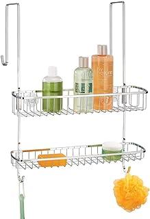mDesign panier de douche à suspendre à la porte de douche – rangement de douche sans perçage, facile à installer – étagère...