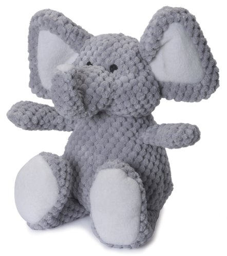 goDog Checkers Elephant with Chew Guard Technology Tough Plush Dog Toy, Grey, Small, Gray (076983)