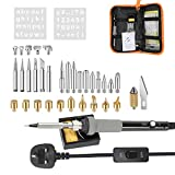 Soldering Iron Kit Electronics 37Pcs, 60W Wood Burning Set, Pyrography Pen Kit for Soldering Engraving and Crafts, Carving Burning Tools On Wood, Leather