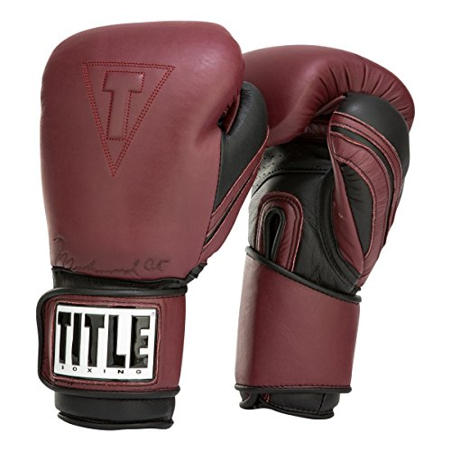 Title Boxing Ali Authentic Leather Training Gloves, Maroon/Black, 16 oz