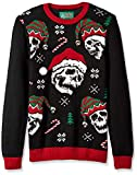 Ugly Christmas Sweater Company Men's Assorted Crew Neck Sweaters with Fun Icons, Sayings, Black Xmas Sculls, Medium
