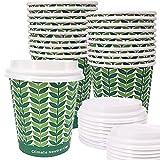 Eco Natural 72 Vasos de Papel con Tapa Biodegradable de 250 cc. Higiénicamente Empaquetados, Apto para Agua, Café, Bebidas Calientes y Frias. Desechables, Diseño 100% Ecologicos