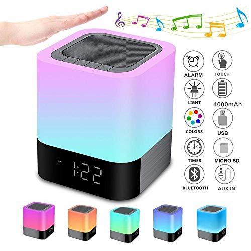 yjll Draagbare Bluetooth luidspreker, draadloos bedlampje Touch dimbaar, wekker digitaal, handsfree, MP3-speler, luidspreker, met SD-kaart, USB