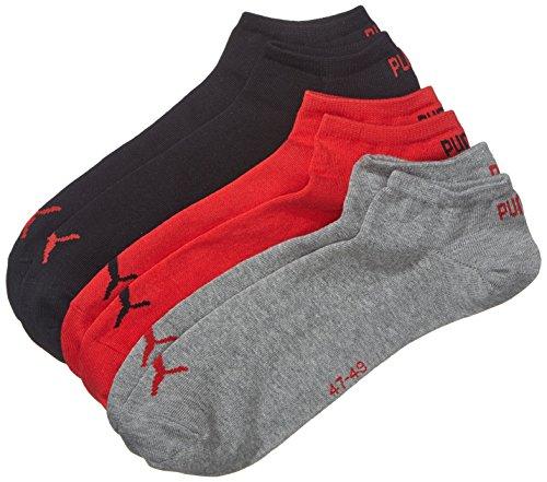 PUMA Unisex Sneaker Trainer Plain Socken, Schwarz/Rot, 47/49 (3er Pack)
