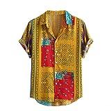 Yowablo Hawaii-Shirt für Herren Vintage Hemd Männer Bunte Streifen Sommer Kurzarm lose Knöpfe lässige Bluse (3XL,Gelb)