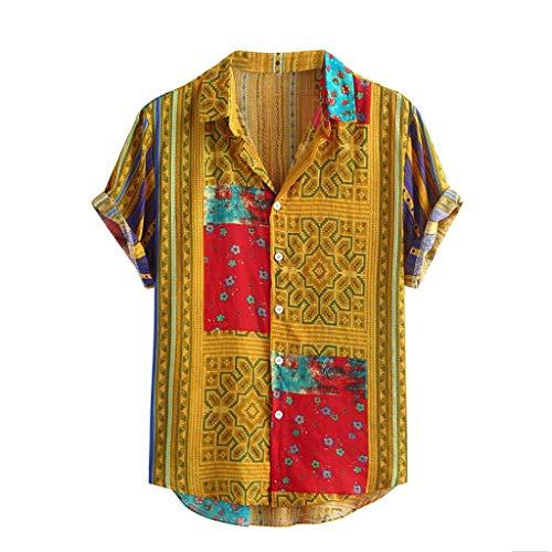 Yowablo Hawaii-Shirt für Herren Vintage Hemd Männer Bunte Streifen Sommer Kurzarm lose Knöpfe lässige Bluse (XL,Gelb)