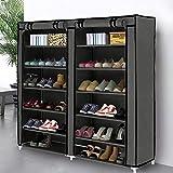 Blissun 10étages à chaussures Meuble de rangement Tour à chaussures avec housse en tissu non tissé, Acier Tissu, noir, 7 tiers