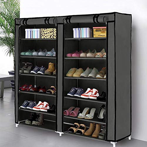 Blissun 7 Tier Shoe Rack Storage Organizer, 36 Pairs Portable Double Row Shoe Rack Shelf Cabinet Tower for Closet with Nonwoven Fabric Cover, Grey