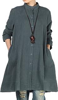 Vogstyle Dames herfst katoen linnen volledige voorste knoop blouse jurk met zakken