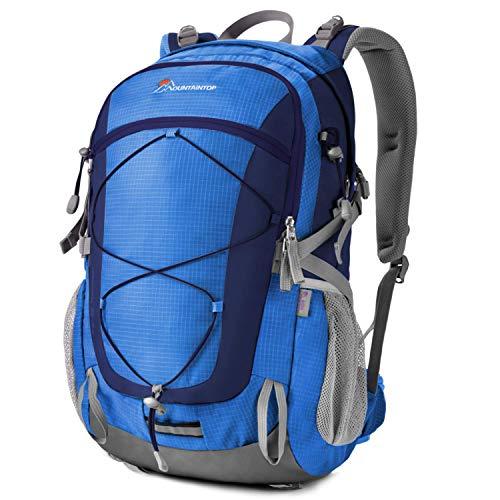 MOUNTAINTOP Mochilas Senderismo 40 litros, Portátil Mochila Trekking Impermeable, Mochilas de Montaña Hombre Mujer para Viajes Acampadas al Aire Libre (Cielo Azul)