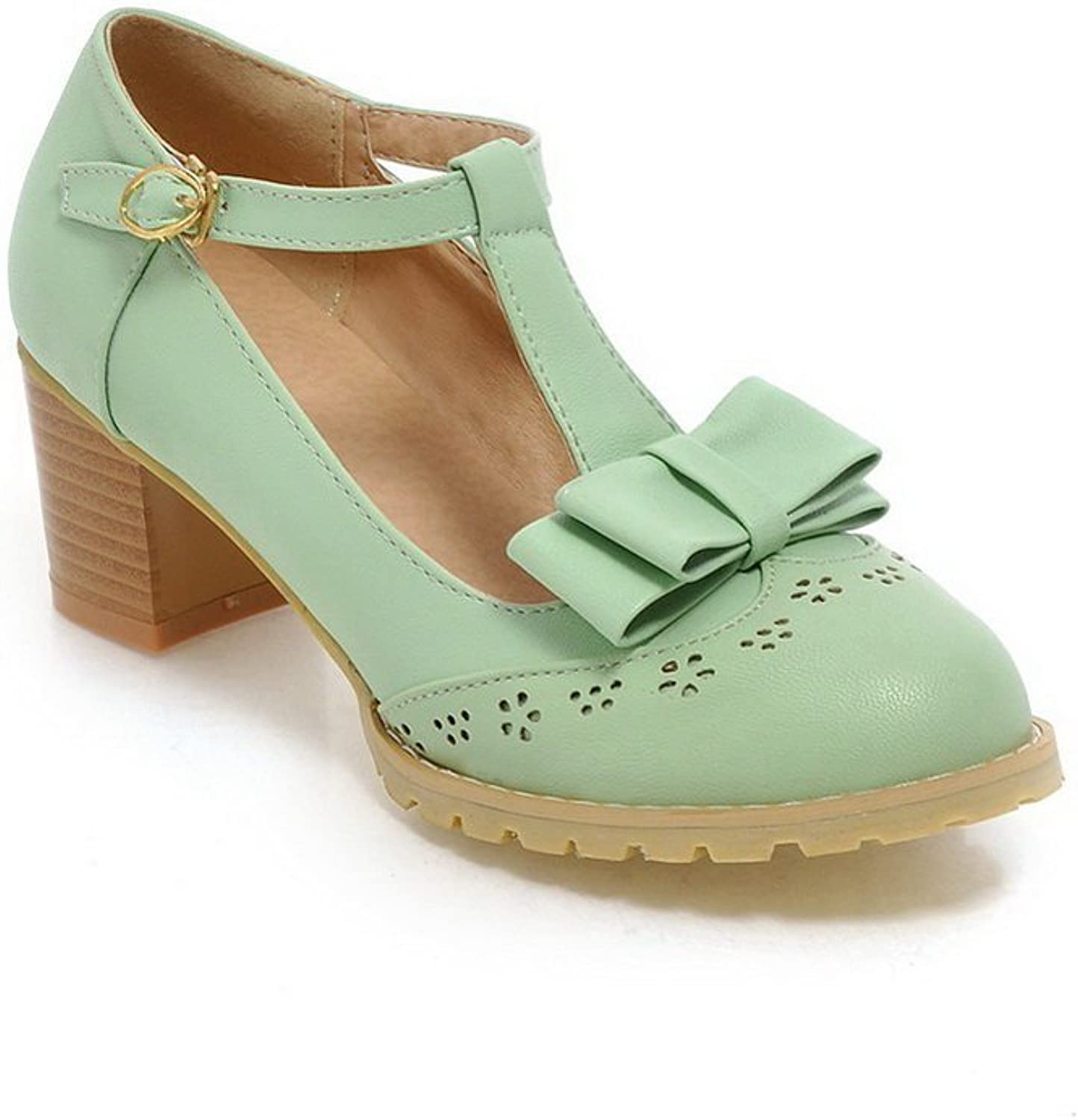 1TO9 Girls Buckle Hollow Out Round-Toe Engagement Green Polyurethane Pumps-shoes - 7.5 B(M) US