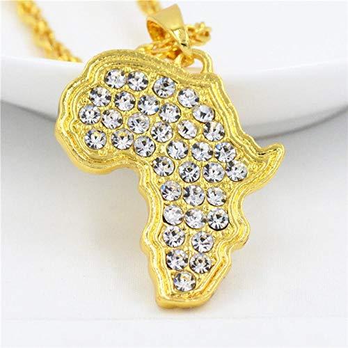 NA Halskette Mode Hip Hop Charme Kristall Afrikanischer Schmuck Frauen Männer Geschenke Trendy Strass Afrika Karte Anhänger Halsketten