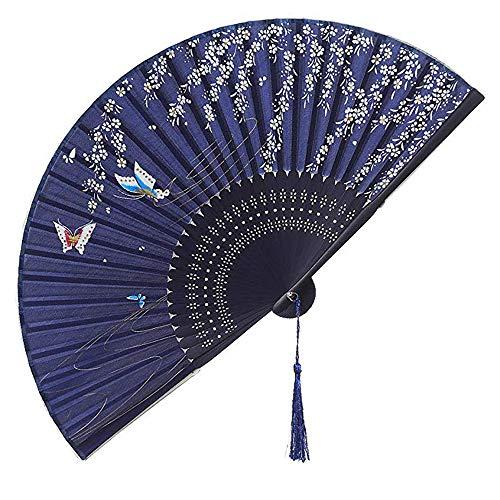 Amaoma Abanicos Boda para Invitados Abanicos Plegables Portátil Abanicos de Mano de Bambú con Borlas con Dibujo Sakura y Mariposas para Boda Fiesta Decoración de Pared Regalos Baile Arte Azul