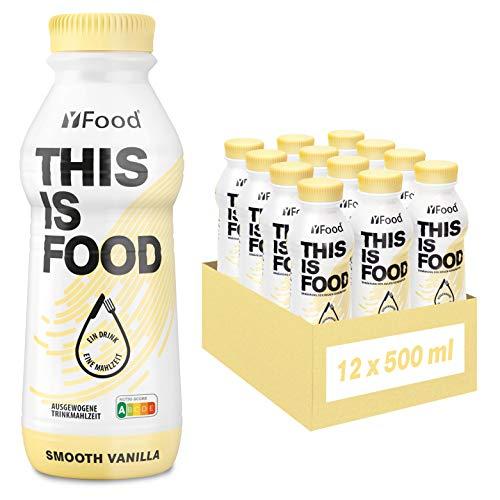 YFood Vanilla | Batido Sustitutivo | Sustitutivo de comida sin lactosa ni gluten | 33g de proteínas, 26 vitaminas y minerales | 25% de las calorías diarias requeridas | 12 x 500 ml (1kcal/ml)