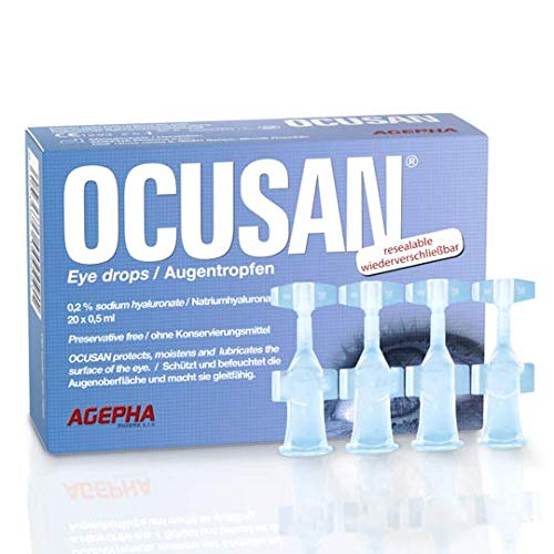 Ocusan Single Use Eye Drops for Dry Eyes| Lubricant Eye Drops for Contact Lens| Preservative Free Eye Drops| Hyaluronic Acid Eye Drops |Artificial Tears for Red Eyes Itchy Eyes Sore Eyes (20 x 0.5 ml)
