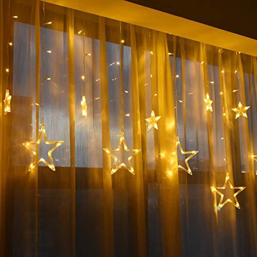 Lichtervorhang Sterne Innen 138 LEDs Sternenvorhang Lichterkette Fenster - Fensterbeleuchtung Weihnachten mit 8 Licht Modi Weihnachtsbeleuchtung für Fensterdeko Party Outdoor Balkon Weihnacht Deko