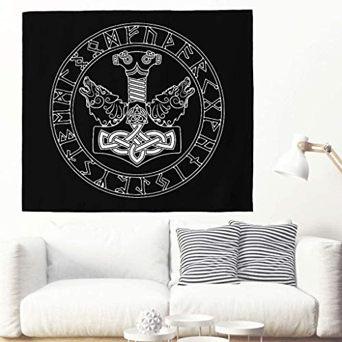 Plain Two Wolf Runes Totem Tapestry Ethnic Viking Hammer Scandinavian Runes Tattoo Wall Hanging Tapestry Celtic Animal Graphic Wall Decor Nordic Mythology Wall Towel, 150x130cm, White
