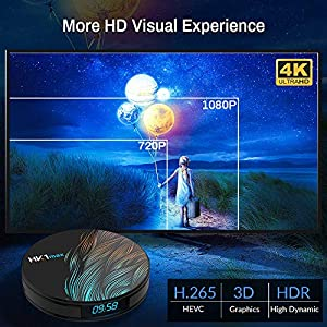 Android TV Box 10.0 4GB 64GBSmart TV Box Android Box RK3318 USB 3.0 Ultra HD 1080P 4K HDR WiFi 2.4GHz 5.8GHz Bluetooth 4.1 Set Top Box with Mini Wireless Backlit Keyboard