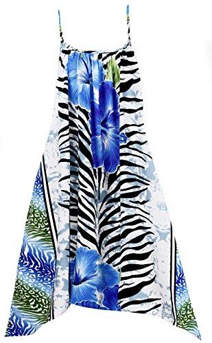 LA LEELA Robes de Plage Grande Taille Tunique Pull Femme Kimono Bohême Mode Bikini Cover Up Blouse Maillot De Bain Caftan Sarong Pareo Été Chemisier Haut Top Beachwear Swimsuit Bleu_A982