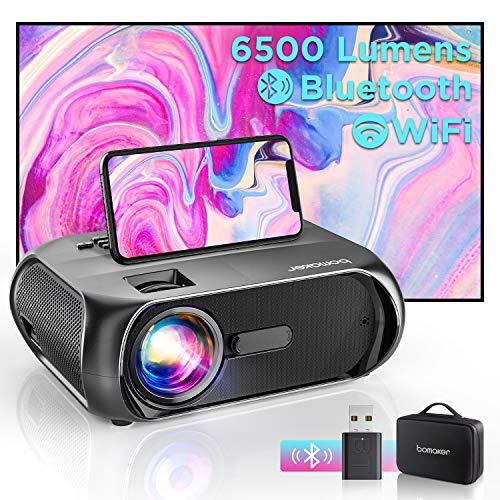 Bomaker Proiettore Portatile WiFi, Videoproiettore 6000 Lm 720P Nativo con Display 300' per Home Cinema, Supporto Full HD 1080P, Mirroring Schermo, per iPhone/Android/Laptop/Lettori DVD/Win10