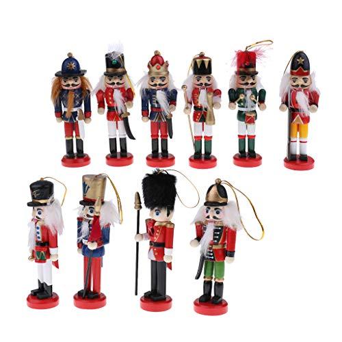 MagiDeal 10 Stücke 12 cm Handgemalte Hölzerne Nussknacker Soldaten Figuren Nussknacker Puppen Weihnachtsschmuck Hause Tisch Stehende Dekoration