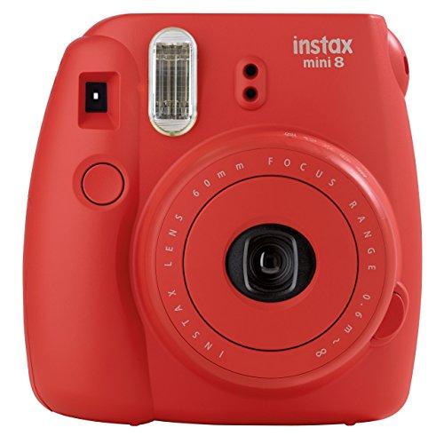 Fujifilm Instax Mini 8 - Cámara analógica instantánea (flash, velocidad de obturación fija de 1/60 s), color rojo