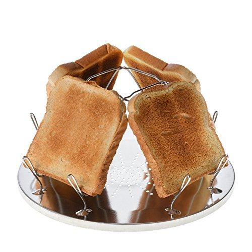 JUSTCAMP Campingtoaster Golden, 4 Scheiben Toast, Toaster Aufsatz für Gaskocher, Campingkocher, teilweise Edelstahl, Silber, faltbar, platzsparend
