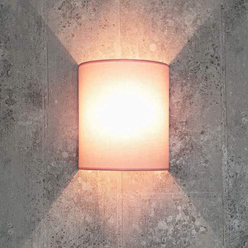 Loft Wandleuchte ALICE Stoff Schirm halbrund E27 in Rosa Loft Design Wandlampe Wohnzimmer Flur Schlafzimmer