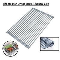 ロールアップシンクの乾燥は果物野菜のために、多目的耐熱オーバーザ・シンクステンレス鋼シリコーンは、食器乾燥、巻き取り可能なキッチン食器水切りラックラック (Size : Square rod)