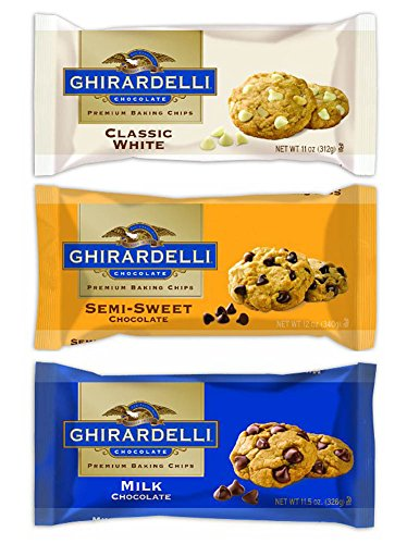 Ghirardelli Chocolate Premium Baking Chips Bundle: 1 Bag Each of Semi-sweet Chocolate Chips, Milk Chocolate Chips & White Chocolate Chips