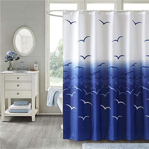 MYQIANG Ozean Duschvorhang Textil Wasserdicht Duschvorhang mit 12 Duschvorhangringen,Modernes Polyester Möwe Badewannenvorhang 180x180cm,Waschbarer und Anti-schimmel,Königsblau