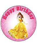 7.5 Inch Edible Cake Toppers – Princess Belle Themed Birthday Party Collection of Edible Cake Decorations