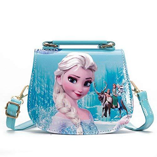 Fancyland Elsa Mädchen Taschen Frozen 2 Eiskönigin Kinder Umhängetasche mit Anna und ELSA 2 Spielzeug Handtasche (Blau)