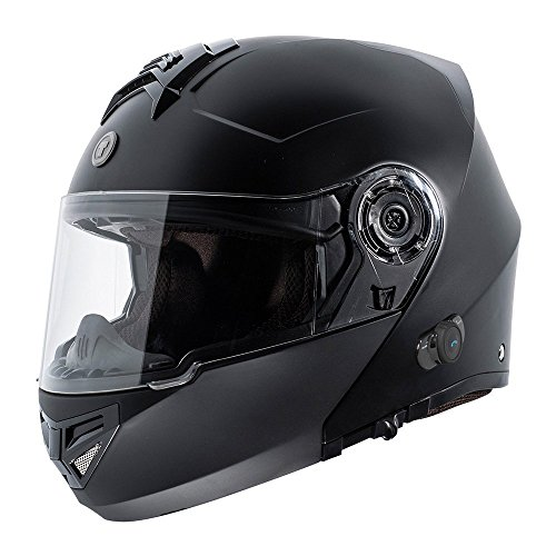TORC T27 Full Face Modular Helmet with Integrated Blinc Bluetooth (Flat Black, Small)
