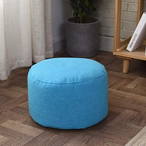 N / A Solid Color Ottoman Stool, Stool Lived Foot of Rest Room, Sweet Cotton Pouf, Thicken Zafu Meditation Cushion Pillow Yoga, Removable Floor Cushion,Marine,35x35x22cm (14x14x9inch)