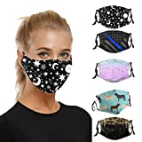 5Pcs Face_Masks Reusable for Women Washable Floral Print Face_Mask Adjustable Comfortable Breathable_Mask for Adults