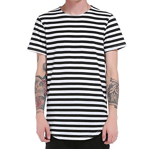 TWIFER Gestreiftes Sommer T-Shirt Herren Oberteile Hemd Kurzarm Lässige T-Shirt Bluse