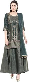 Aurelia Womens Round Neck Printed Embellished Palazzo Suit