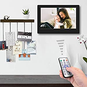 TENSWALL 7 Zoll Digitaler Bilderrahmen 1024x600 hochauflösendes Full-IPS-Display Foto/Musik/Video-Player Kalender Wecker automatischer EIN/aus Timer, unterstützt USB-und SD-Karte, Fernbedienung
