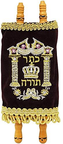 The Dreidel Company Complete Children's Torah Scrolls, Mini Velvet Sefer Torah - 4' (1-Pack)