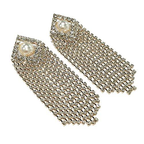 QiuYueShangMao Pendiente Largo con Borla de Diamantes de imitación para Mujer, Pendientes Colgantes de declaración de Cristal de Perlas de imitación, Colgante de joyería para Fiesta de Boda