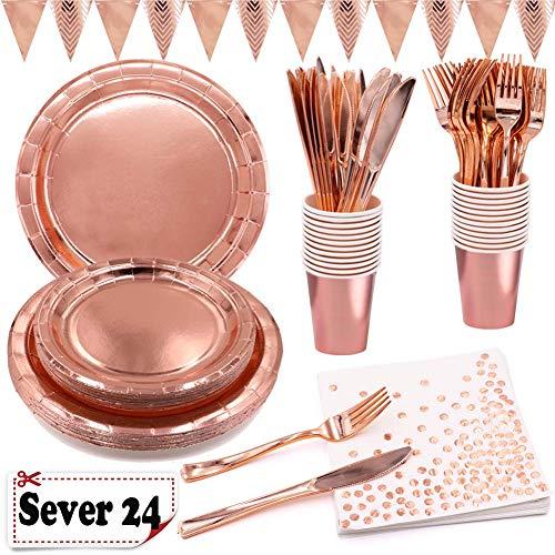 Shinelee Set Compleanno Oro Rosa Party Piatti Carta Bicchieri Biodegradabili Tovaglioli Coltelli Forchette Triangolo Banner Matrimonio Kit Feste Compleanno Oro Rosa 24 Ospiti