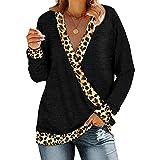 Camisa Cruzada con Cuello en V Profundo para Mujer Jersey de Retazos con Estampado de Leopardo Tops Sueltos de Manga Larga Casuales (Negro, XXL)