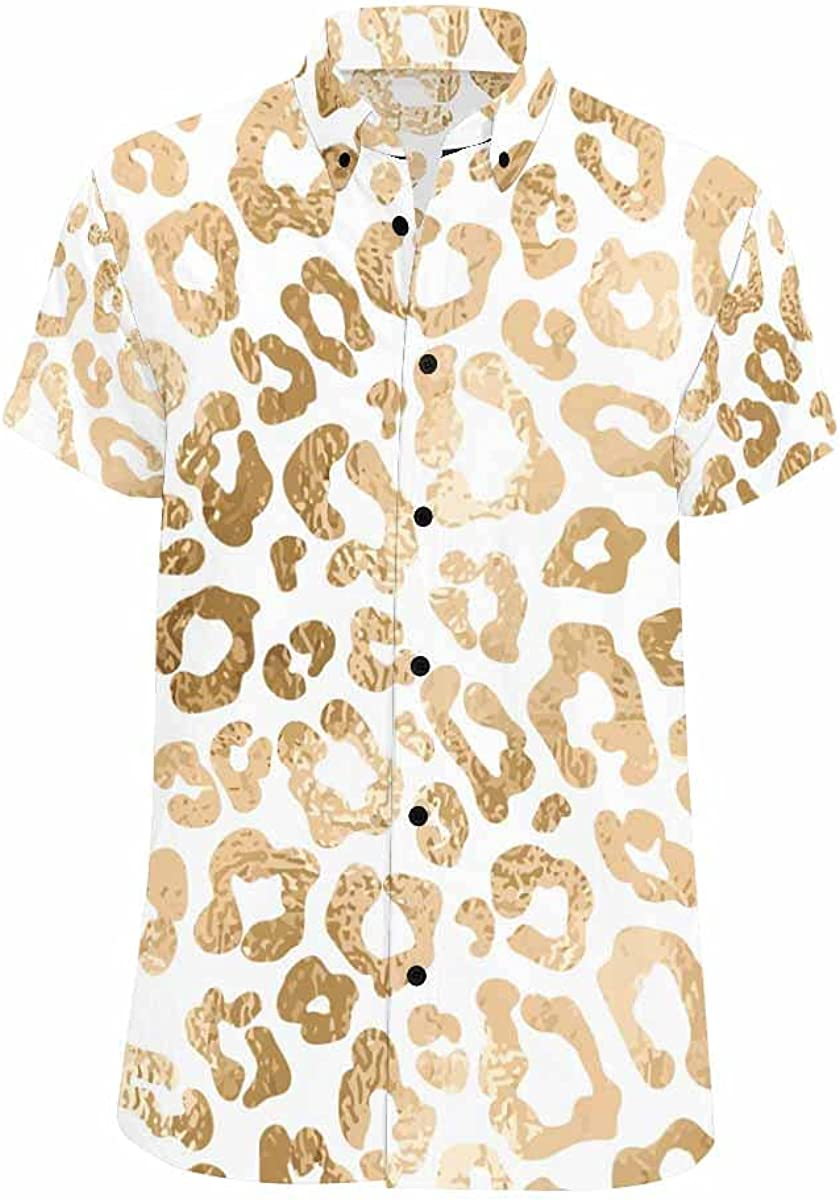 InterestPrint Glittering Snowflakes Watercolor Circles Button Down Shirts Standard Fit Summer Casual Shirt for Men