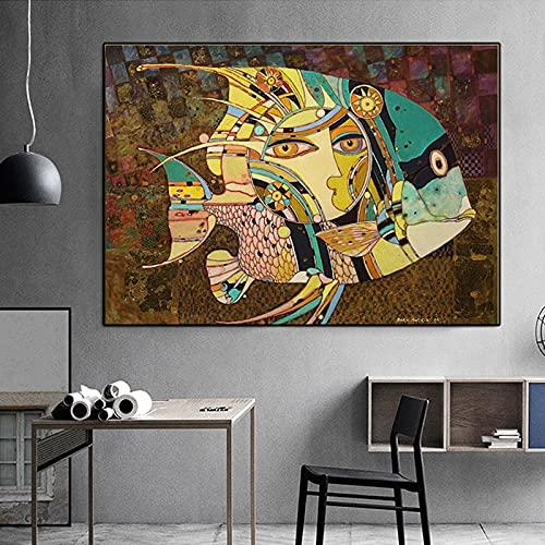 Puzzle 1000 Piezas Pintura Decorativa Animal pez Abstracto Famoso Puzzle 1000 Piezas educa Juegos Familiares para Adultos Divertidos para niños Rompecabezas de Juguete de desc50x75cm(20x30inch)