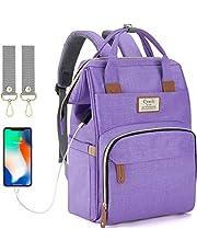 Luiertas rugzak met USB-poort,Baby luier veranderende rugzak tas met kinderwagen riemen, multifunctionele waterdichte stijlvolle draagtas