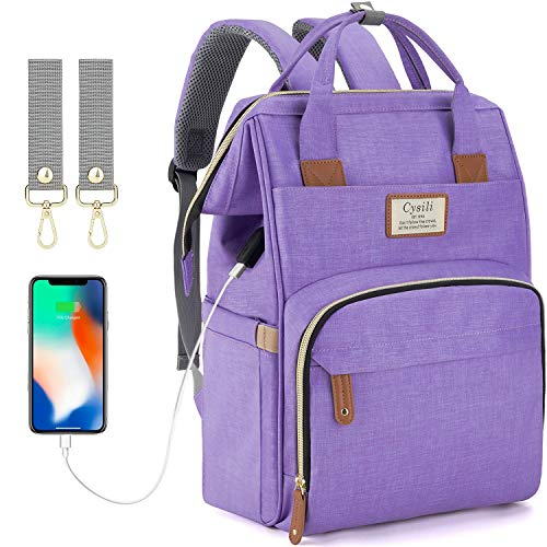 Diaper Bag Backpack with USB Port,Baby Nappy Changing Backpack Bag with Stroller Straps, Multi-Function Waterproof Stylish Tote Bag (Purple)